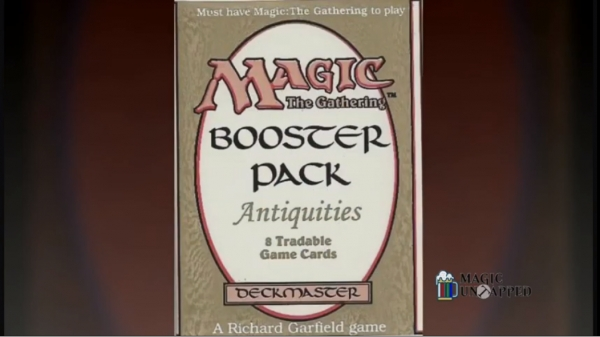 The 'Antiquities' booster pack for 'Magic: The Gathering'.