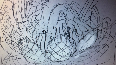 An in progress sketch of Guay's upcoming playmat collaboration with Alayna Danner.