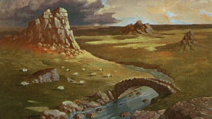 The Scottish Highlands as represented on a Magic: The Gathering card.