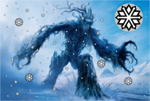 An Abominable Treefolk in a snowstorm.
